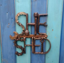 She Shed sign. Created from a range of old tools. Pictured at the customers home.: Click Here To View Larger Image